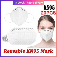 Load image into Gallery viewer, 10/20 Pcs KN95 Protection Adult Breathable Reusable Face Mouth Masks