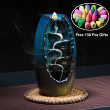 Load image into Gallery viewer, 2020 New Waterfall New Ceramic Backflow Incense Burner Incenser Holder Home Decor Aromatherapy Ornament with 130 Cone Incense