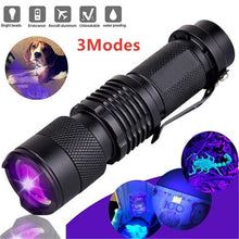 Load image into Gallery viewer, 395nm Portable Tool Detector Aluminum Purple LED Ultraviolet Blacklight UV Flashlight Zoomable Torch Lamp