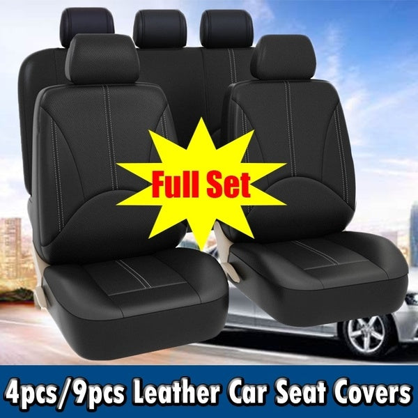 4pcs/9pcs Car Seat Cover Set Leather,Automotive Black Seat Protector Covers,Car Seat Covers Universal,Car Accessories