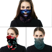Load image into Gallery viewer, Rose Sunflower Marble Animal Skull Design Seamless Mask Ski Magic Scarf Cool Warmer Tube Half Shield Face Mask Headband Snowboard Bicycle Sports Outdoor Headwear
