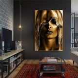 Golden Makeup Women Canvas Paintings and Print Nordic Style Wall Art Pictures Scandinavian Cuadros for Living Room Decor