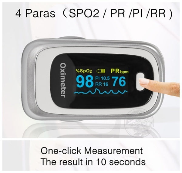 Premium Fingertip Pulse Oximeter Blood Oxygen Monitor with 4 Parameter SPO2 / PR / Respiratory Rate / Perfusion Index)