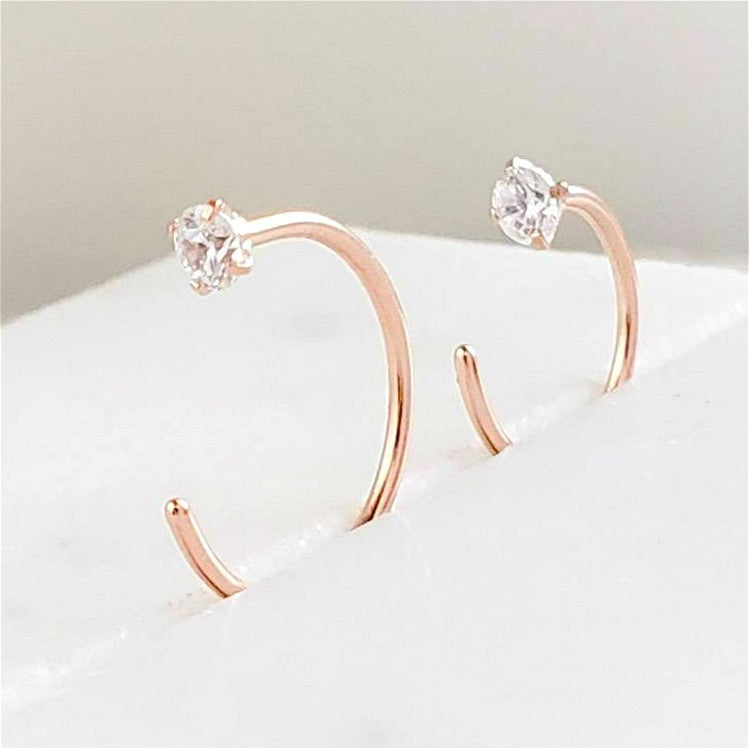 1 Pair Simple Huggie Hoops Thin Hoops Earrings Open Cartilage Hoop Cz Earrings