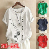 Cotton Shirt Tops Women's Summer Casual Loose Short-sleeved Printed Ladies Shirt