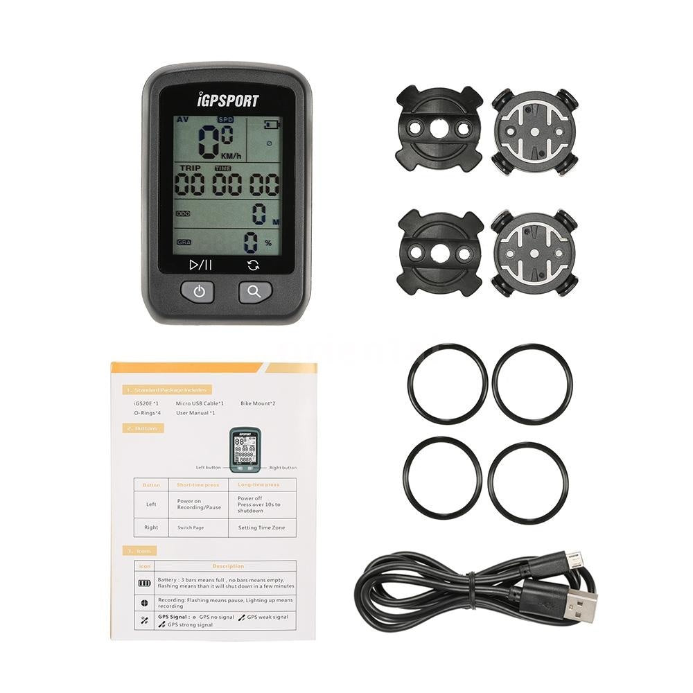 iGPSPORT iGS20E Cycling Cycle Bicycle GPS Computer Odometer with Mount J2K0