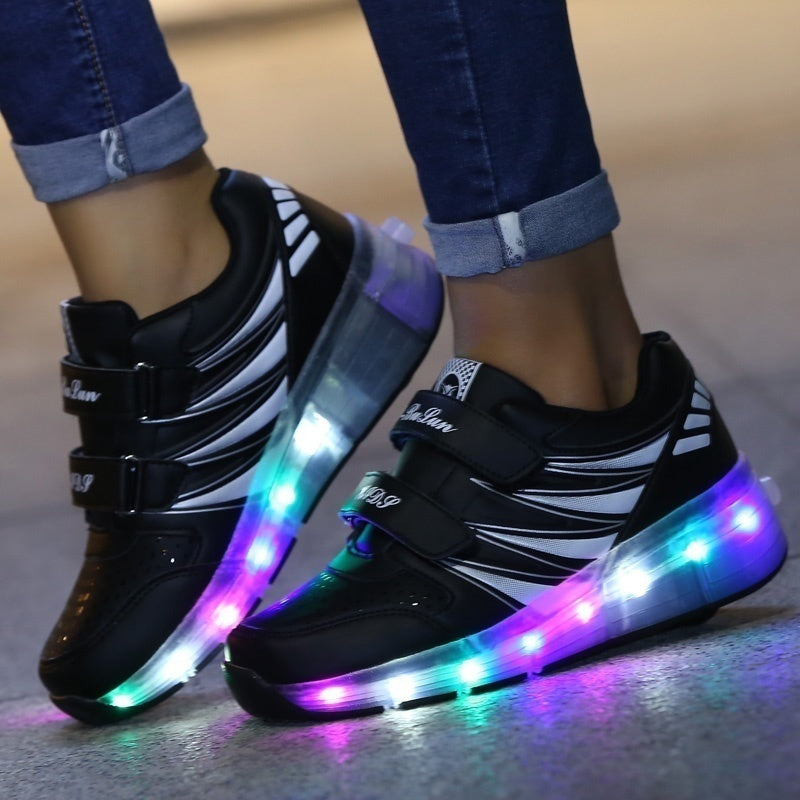 Children Night LED Light Roller Skating Skates Shoes Fashion Roller Shoes Size 27-43