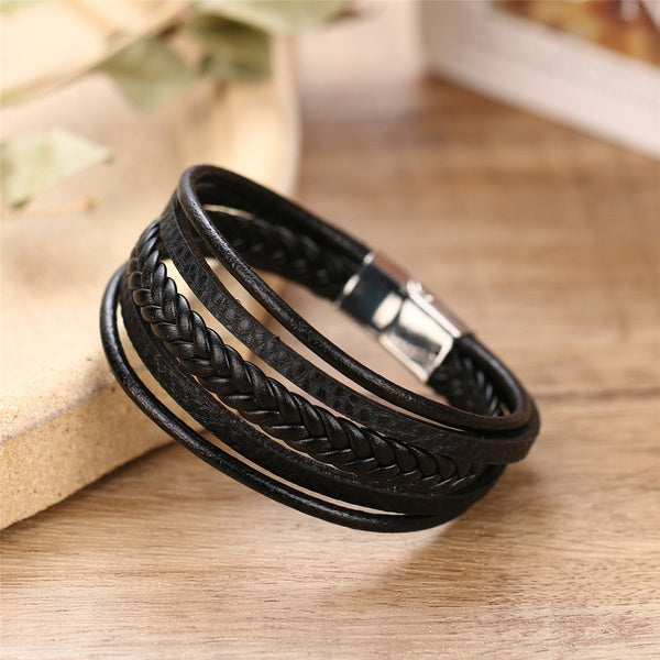 2020 Fashion Charm Jewelry Bracelets Bangles Cuff Magnet Bracelet Vintage Handmade Weave Multilayer Leather Bracelet Men