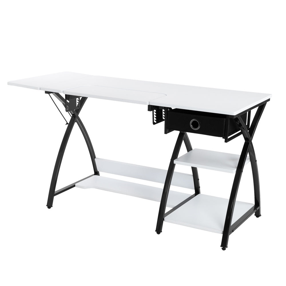 White Folding Flexible Hight Computer Desk Adjustable Sewing Craft Table Study Platform W/ Drawer Home Office
