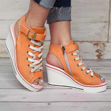 Women's Fish Mouth Wedge Heel Canvas Shoes Summer Cool Open Toe Sandals Large Size Zipper Canvas Sandals Fashion 35-43