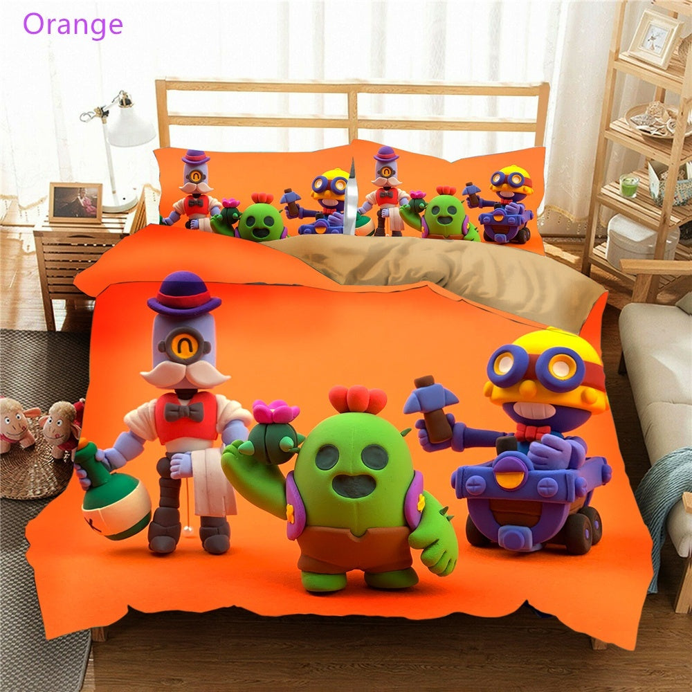 Newest 3D Print Brawl Stars 2/3pcs Duvet Cover Sets for Kids Bedroom Decor