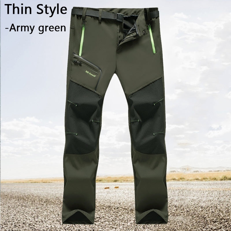 Mens Thin Waterproof Outdoor Hiking Pants Trouser Male Casual Camping Climbing Fishing Softshell Pants (No Fleece)