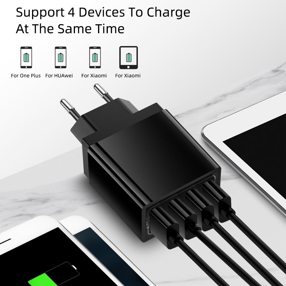4 Port USB Wall Charger 5.1A Fast Charging US/EU Plug Charger Adapter Portable Travel Home Universal Phone Charger