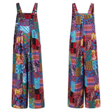 Women Cotton Wide Leg Rompers Sleeveless Jumpsuit Casual Printed Loose Overalls Plus Size