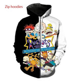 2020 New sports suit 90's Rugrats Men's/Women's Set of Casual Street Fashion Zip hoodie and Jogging Pants