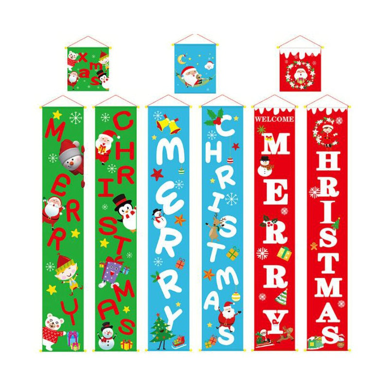 Christmas Curtain Decoration Christmas Door Painting Decoration Outdoor Banner