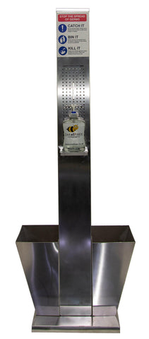 Premium Double Column Hand Sanitizer Dispenser Station Free Standing 140cm High - InteliBEE Technologies