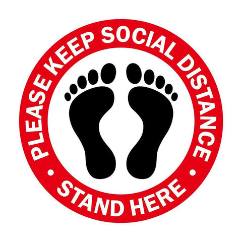 Please Keep Social Distance Pack of 1, 5, 10, 15, 20 Floor Stickers - InteliBEE Technologies