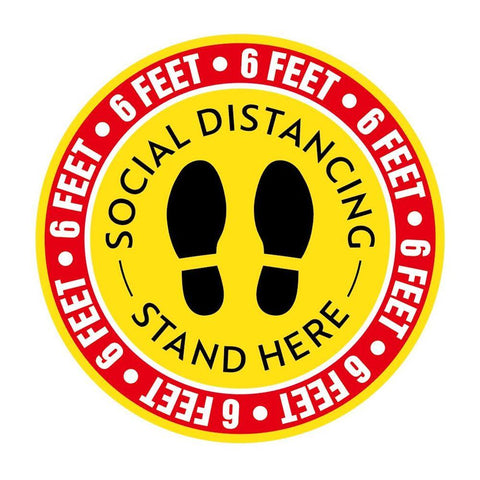 Social Distancing Stand Here Pack of 1, 5, 10, 15, 20 Floor Stickers - InteliBEE Technologies
