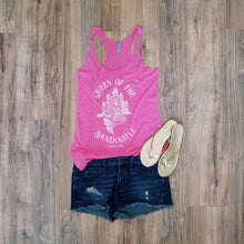 "Load image into Gallery viewer, ""Queen of the Sandcastle"" in Vintage Pink Women's Tri-blend Racerback Tank"