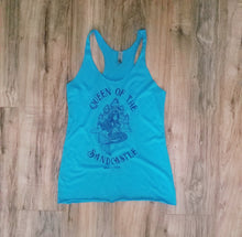 "Load image into Gallery viewer, ""Queen of the Sandcastle"" in Vintage Turquoise Tri-blend Women's Racerback Tank"