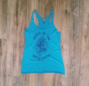 """Queen of the Sandcastle"" in Vintage Turquoise Tri-blend Women's Racerback Tank"