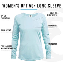 "Load image into Gallery viewer, ""Mermade Florida Logo"" in Water Blue UPF 50+ Women's Slim Fit Long Sleeve T-Shirt"