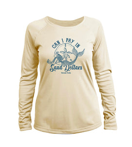 """Can I Pay in Sand Dollars"" in Pale Yellow UPF 50+ Women's Slim Fit Long Sleeve T-Shirt"