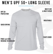 "Load image into Gallery viewer, ""The Man, The Myth, The Merman"" in Columbia Blue UPF 50+ Men's Long Sleeve T-Shirt"