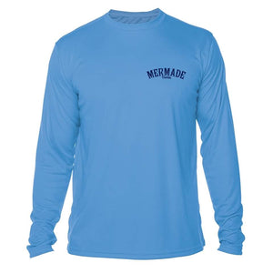 """The Man, The Myth, The Merman"" in Columbia Blue UPF 50+ Men's Long Sleeve T-Shirt"
