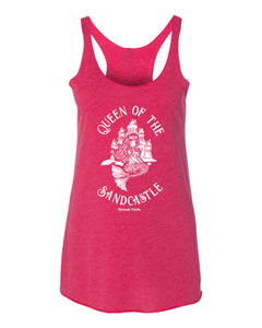 """Queen of the Sandcastle"" in Vintage Pink Women's Tri-blend Racerback Tank"