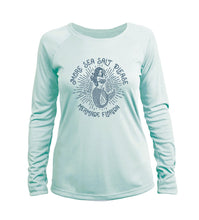 "Load image into Gallery viewer, ""More Sea Salt Please"" in Seagrass UPF 50+ Women's Slim Fit Long Sleeve T-Shirt"