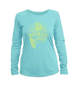 """Mermade Florida Logo"" in Water Blue UPF 50+ Women's Slim Fit Long Sleeve T-Shirt"
