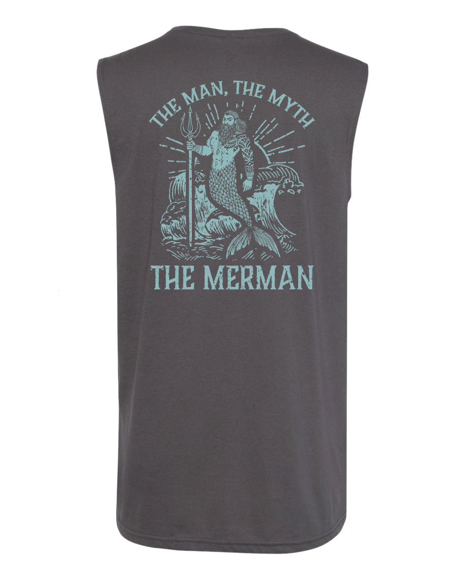 """The Man, The Myth, The Merman"" in Heavy Metal Men's Muscle Tank"