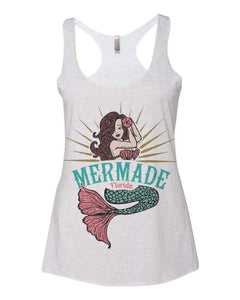 """Mermade Florida Logo"" Sublimated in Heather White Women's Tri-blend Racerback Tank"