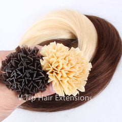#8-12 Highlights Pre-Bonded V Tip Hair Extensions 1g-strand 100g