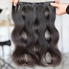 Unprocessed Natural Color Clip-in Hair Extensions-1Pc.Sextuple Wefts
