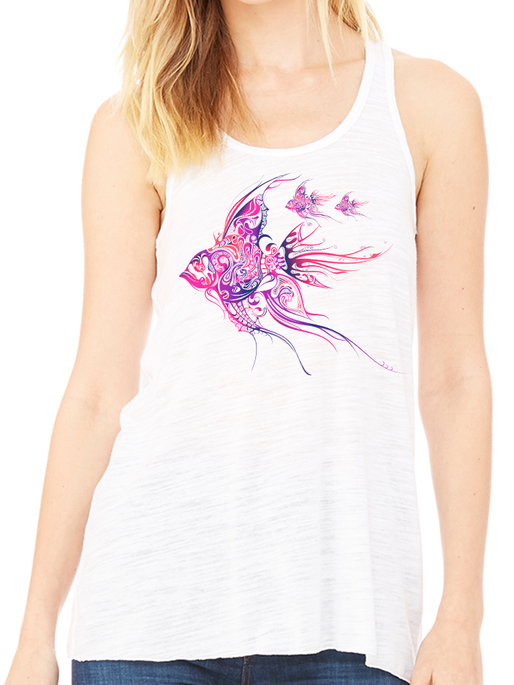 BeYouTees® Pink Angelfish graphic tank