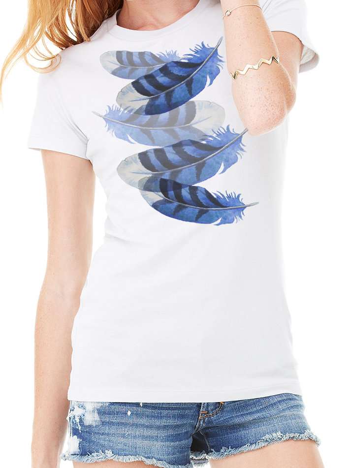 BLUE FEATHERS TEE