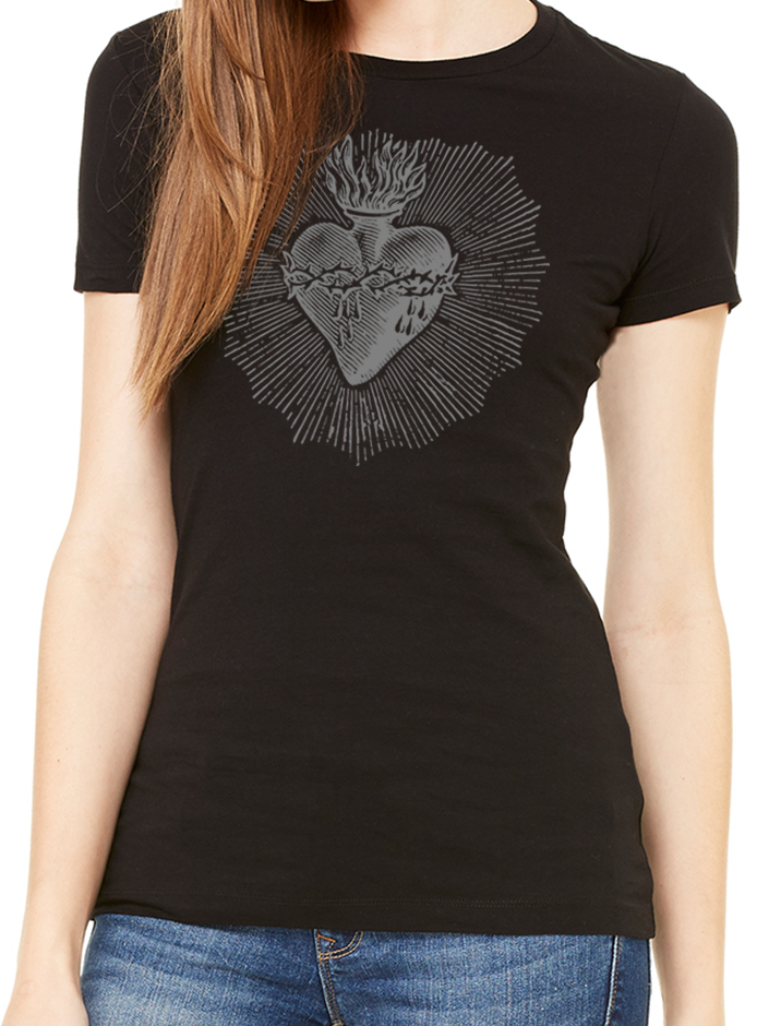 BeYouTees® Sacred Heart graphic tee (gray print)