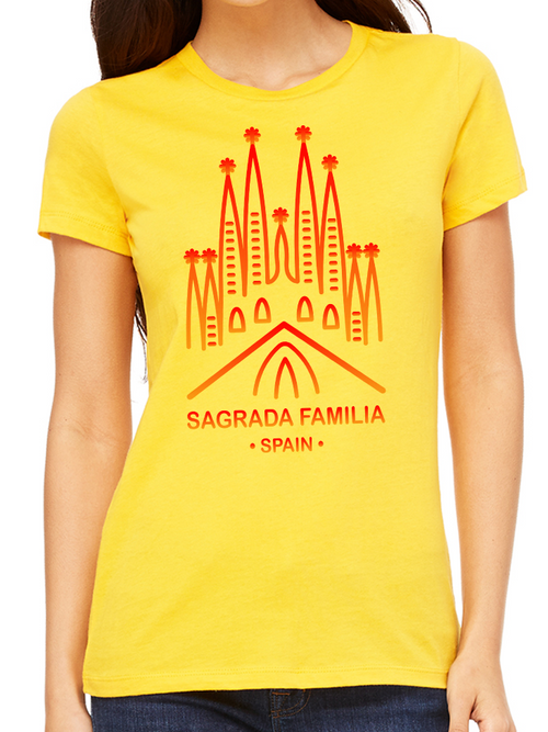 BeYouTees® Sagrada Familia landmark graphic tee (red print)