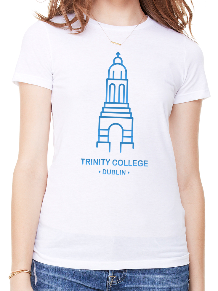 BeYouTees® Trinity College Dublin landmark graphic tee