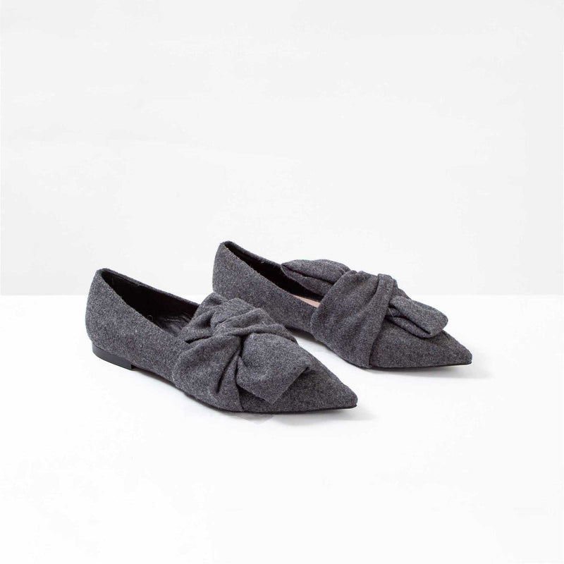 Uterque Charcoal Felt Flats with Knot Bow Detail