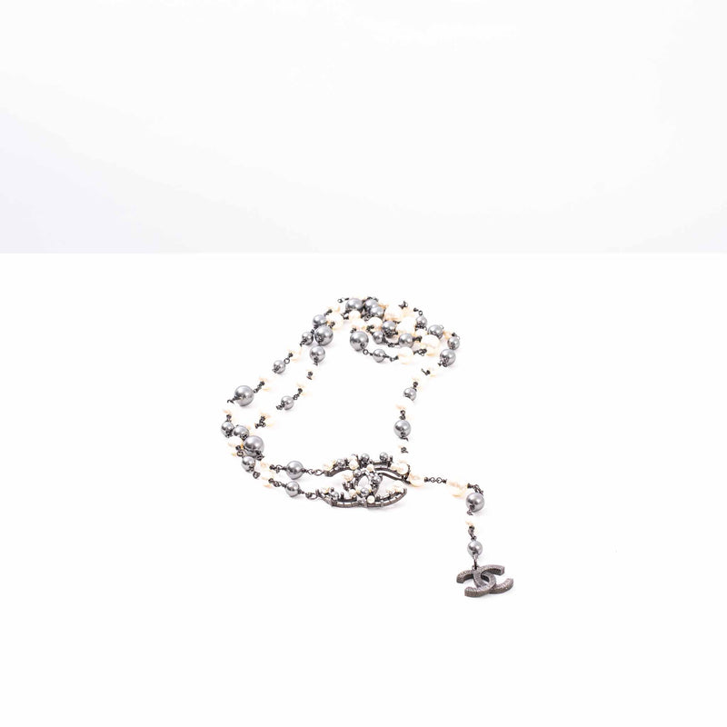 Chanel White and Grey Faux Pearl Double Strand Necklace with Interlocking CC