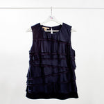 Michael Kors Black Silk Sleeveless Blouse with Tiered Ruffles