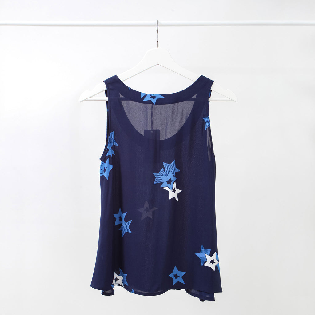 See by Chloe Blue Star Print Sleeveless Top, Size: 4 US