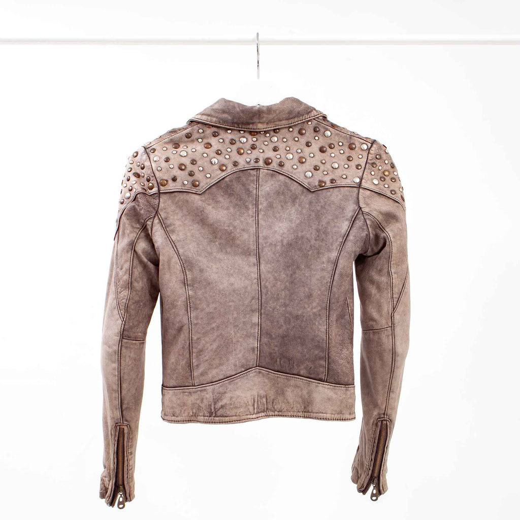 Doma Distressed Taupe Leather Jacket with Shoulder Studs