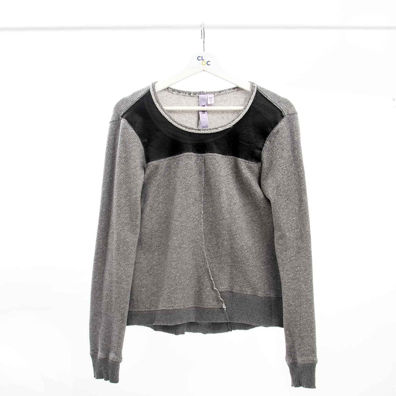 Wilt Grey Sweatshirt with Leather Yoke