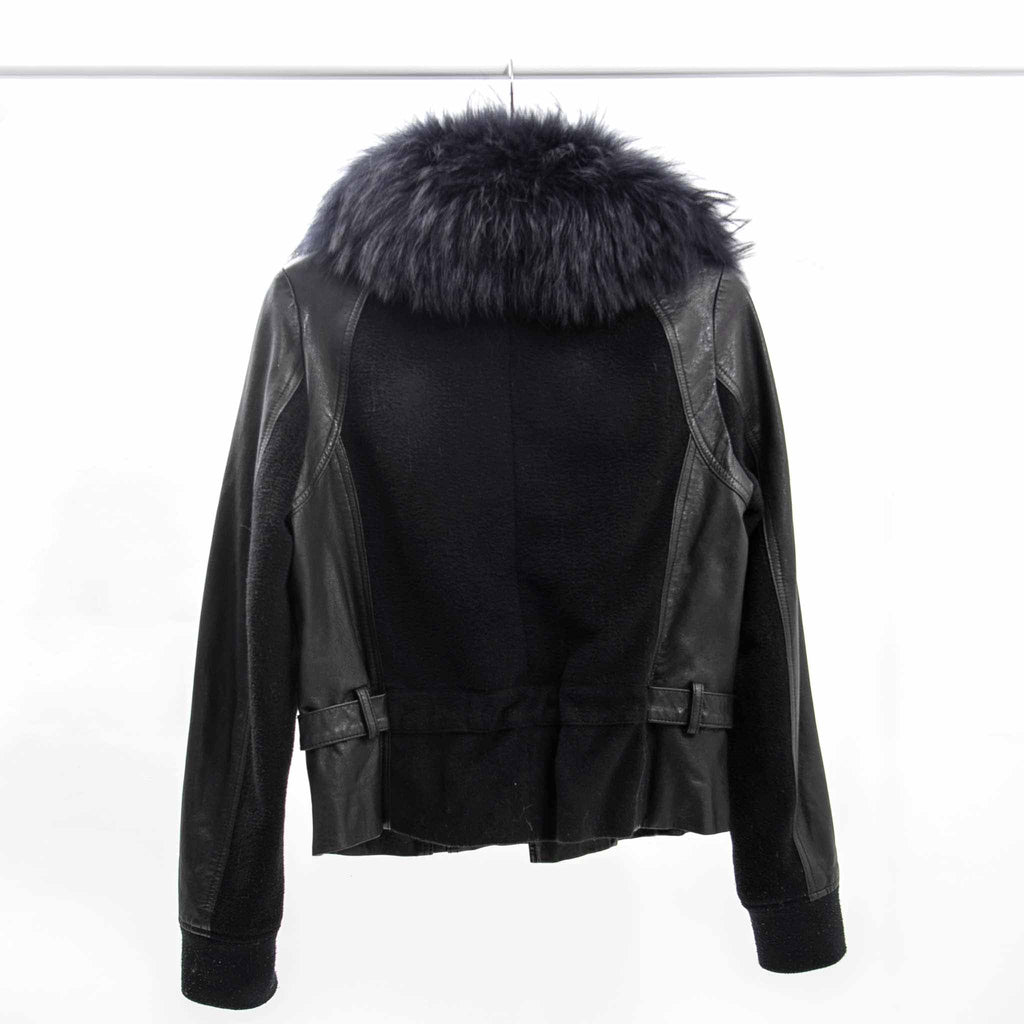 Line the Label Leather Jacket with Fur Collar