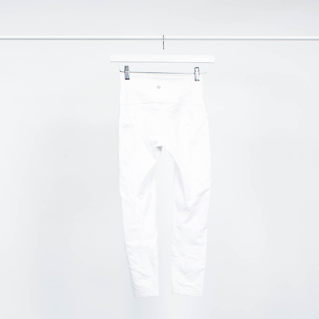 Lululemon Cropped White Leggings with Seaming Detail and Side Pockets